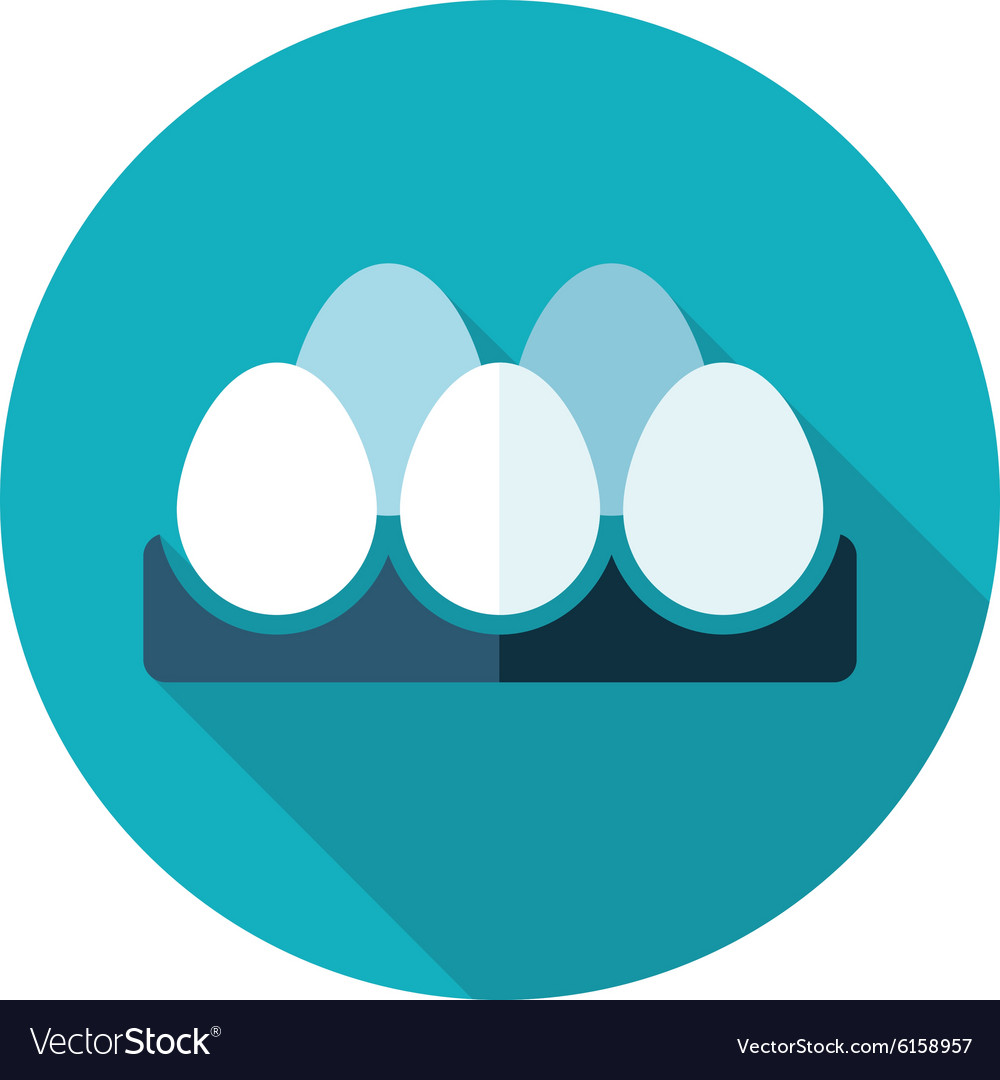 Chicken eggs in a tray flat icon with long shadow vector