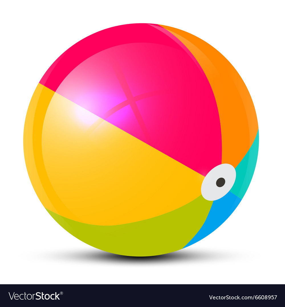Colorful beach ball isolated on white background vector