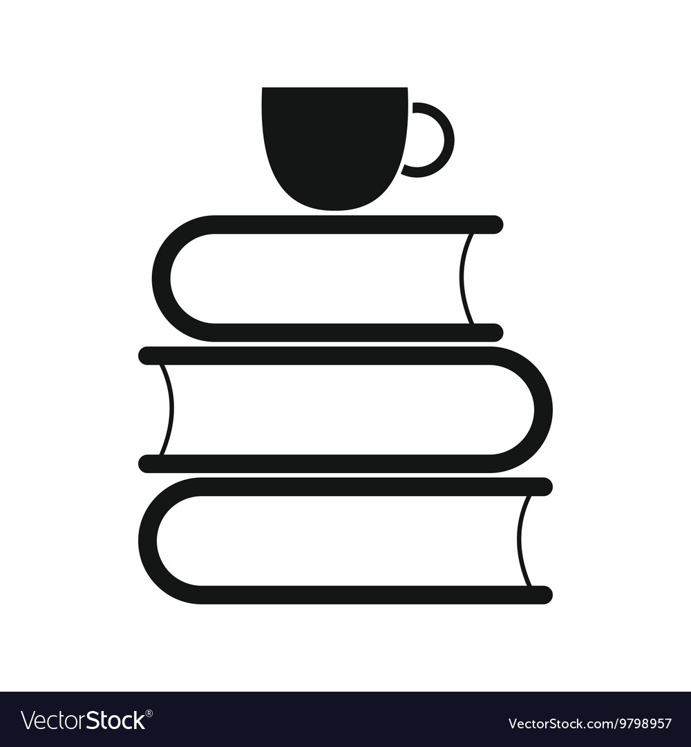 Stack of books and white cup icon vector
