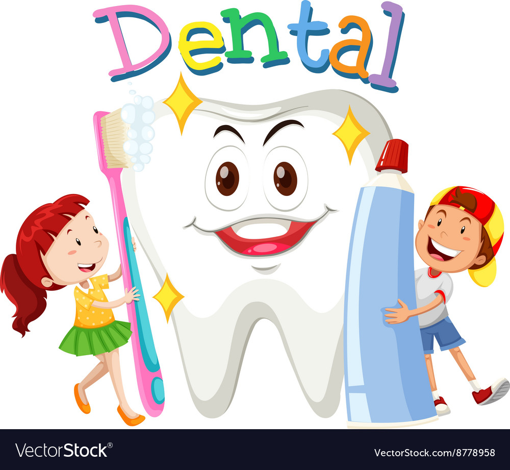 Children with toothbrush and toothpaste vector