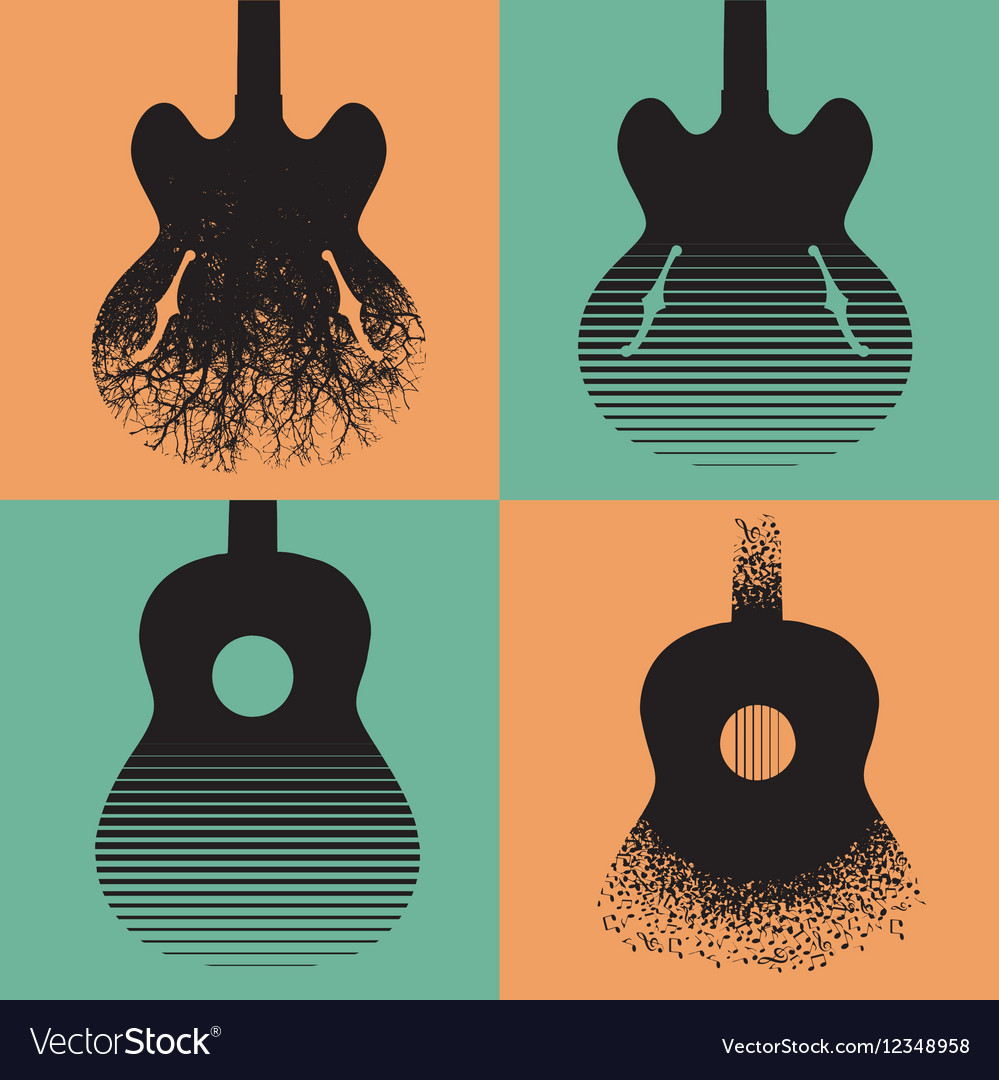 Four interesting guitar designs vector