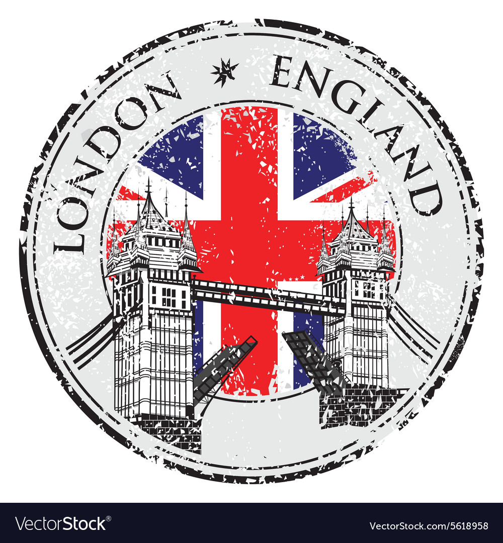 Tower bridge grunge stamp with flag london hand vector