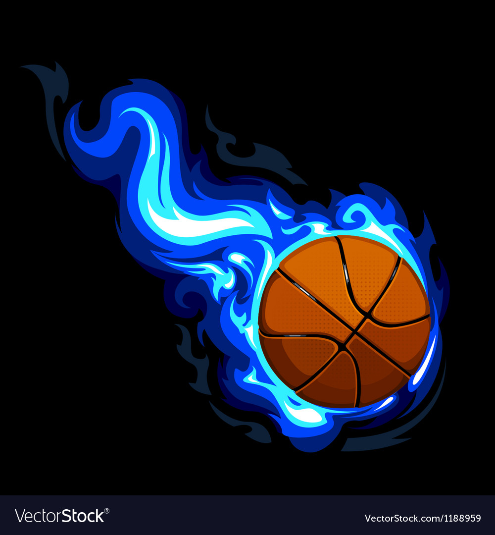 Burning basketball vector