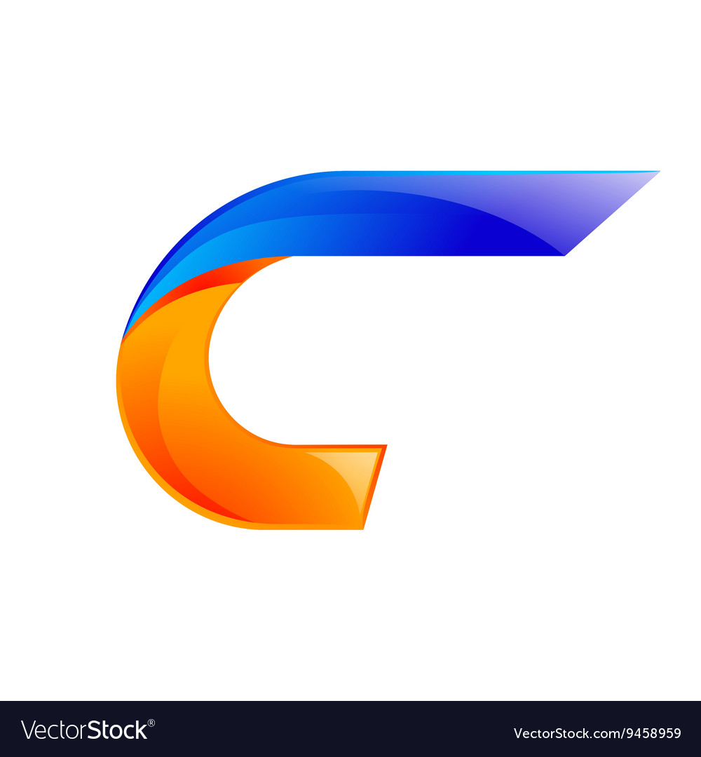 C letter blue and orange logo design fast speed vector