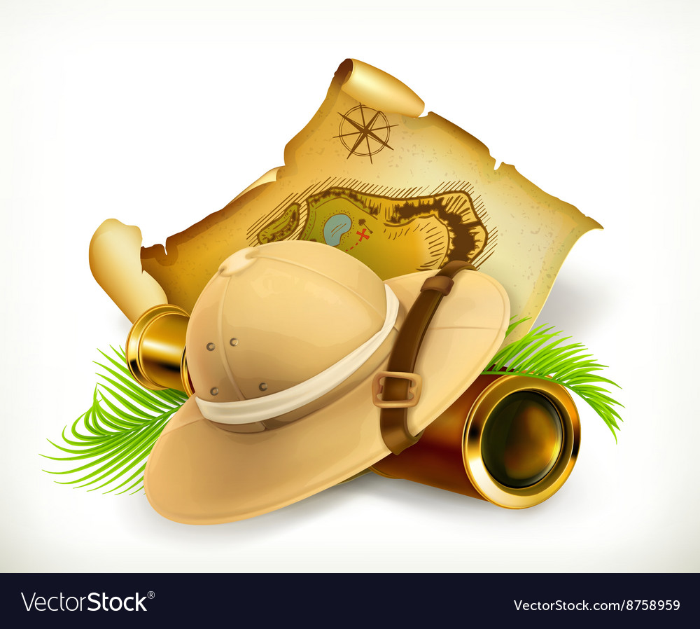 Pith helmet treasure map adventure icon vector