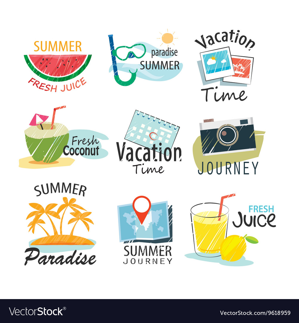 Set of hand drawn summer signs and banners vector