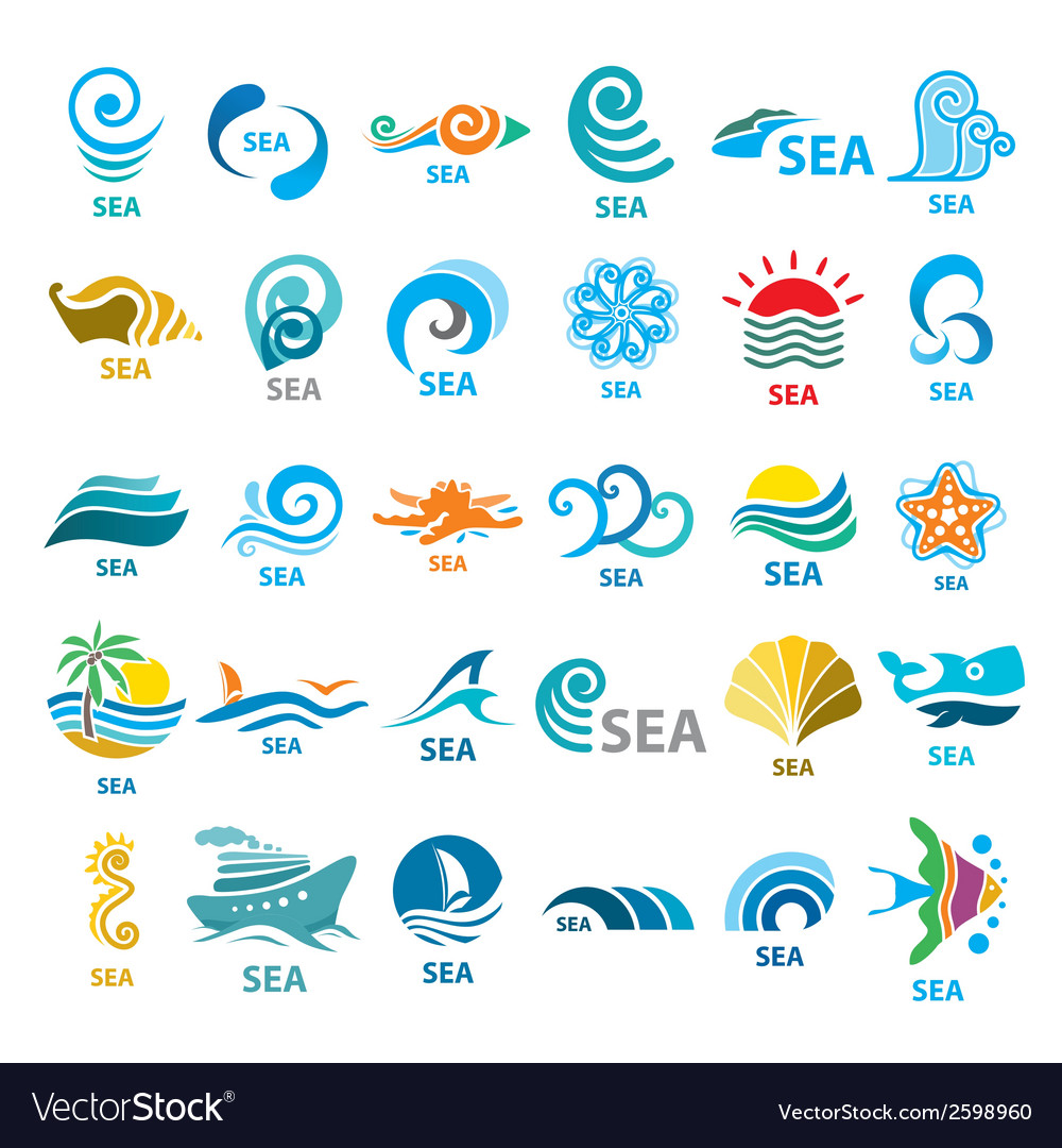 Big collection of logos sea vector