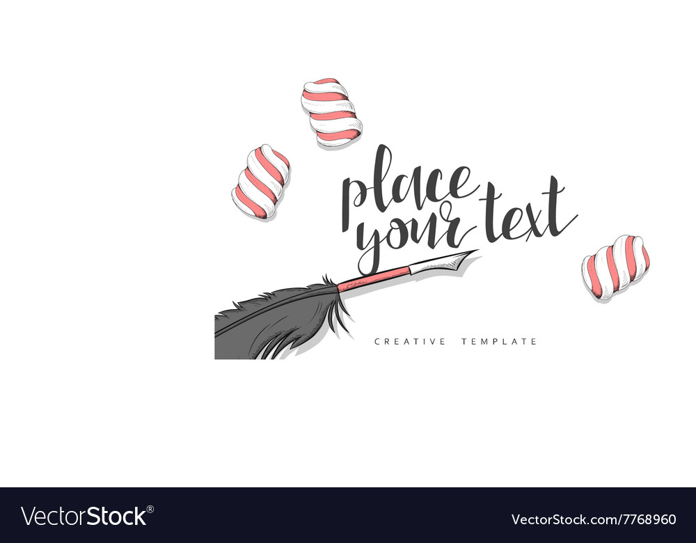 Feather pen and marshmallow in sketch conceptual vector