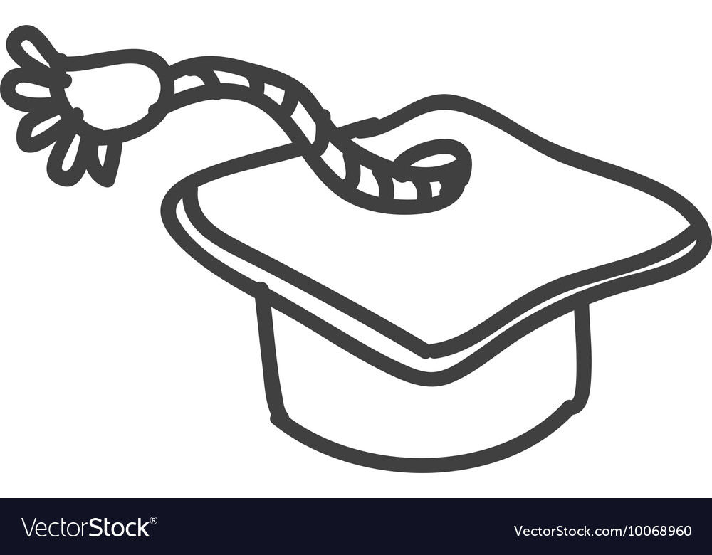 Graduation cap icon sketch design graphic vector