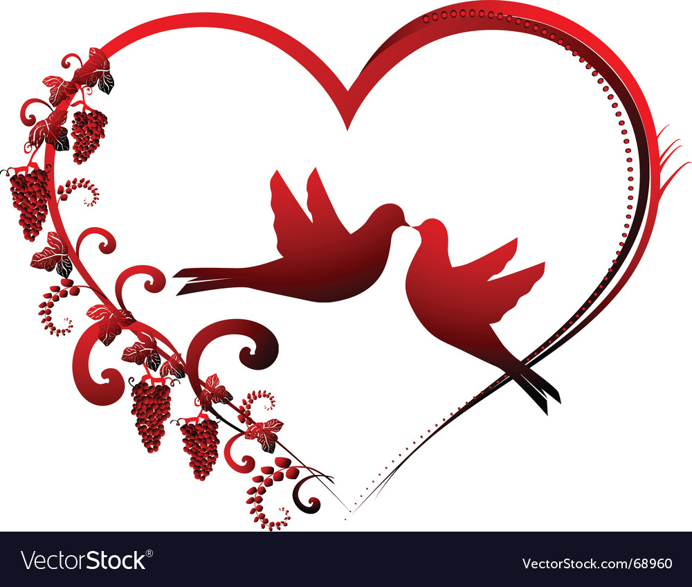 Heart and dove vector