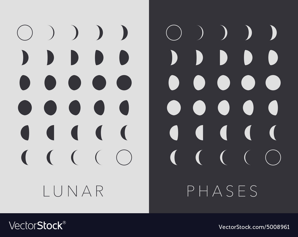 Flat lunar phases vector