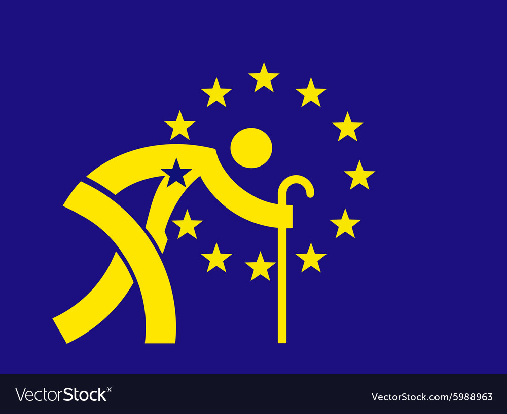 An aging europe european union flag vector