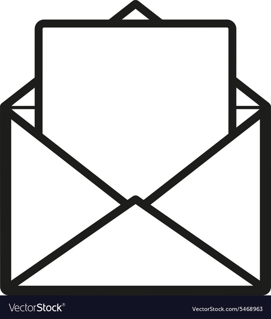 Mail icon open envelope symbol vector