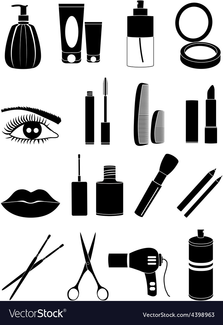 Salon makeup icons set vector