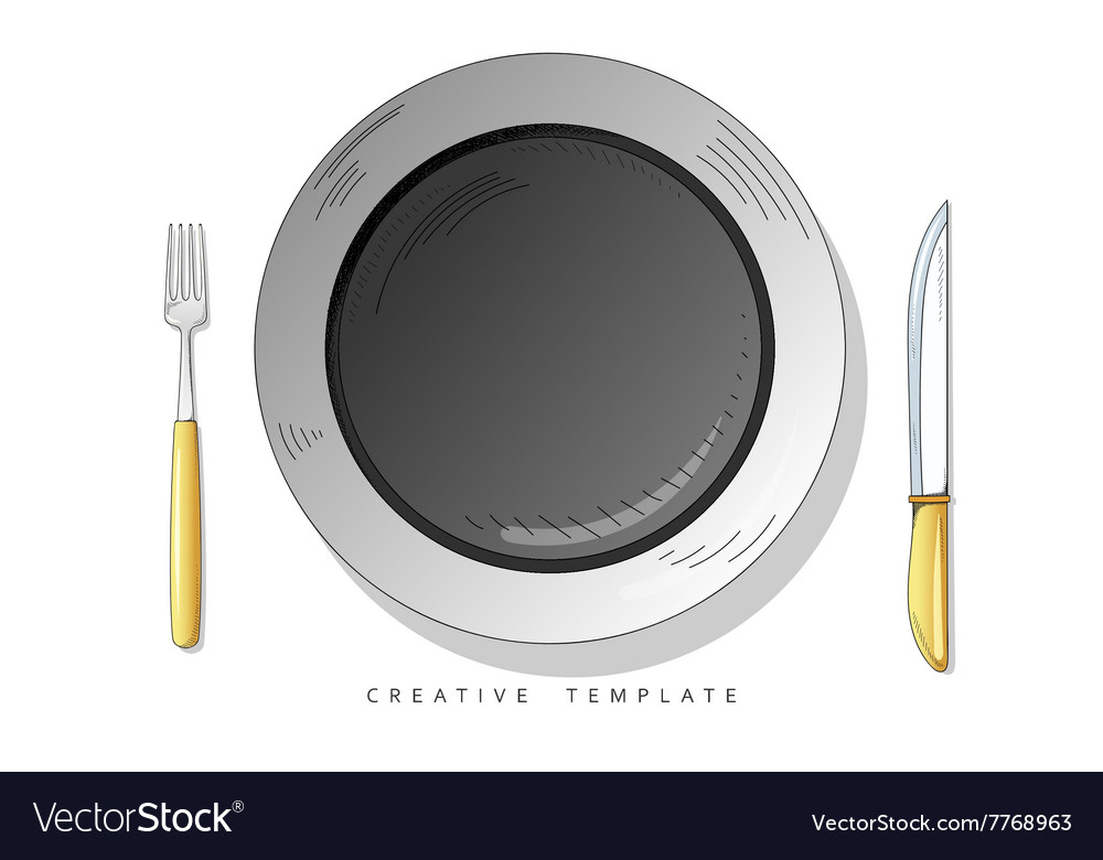 Set sketch cutlery plate fork and knife template vector