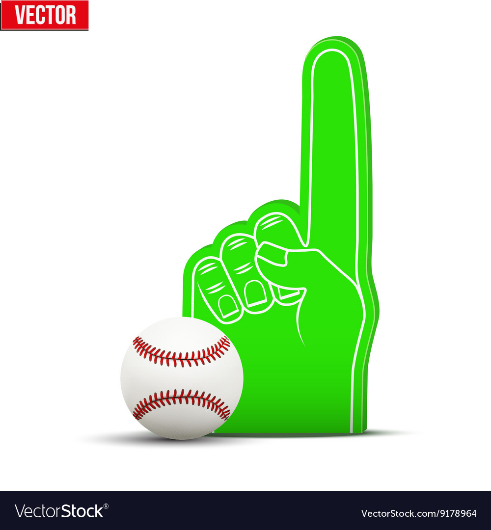 Baseball sports fan foam fingers and ball vector