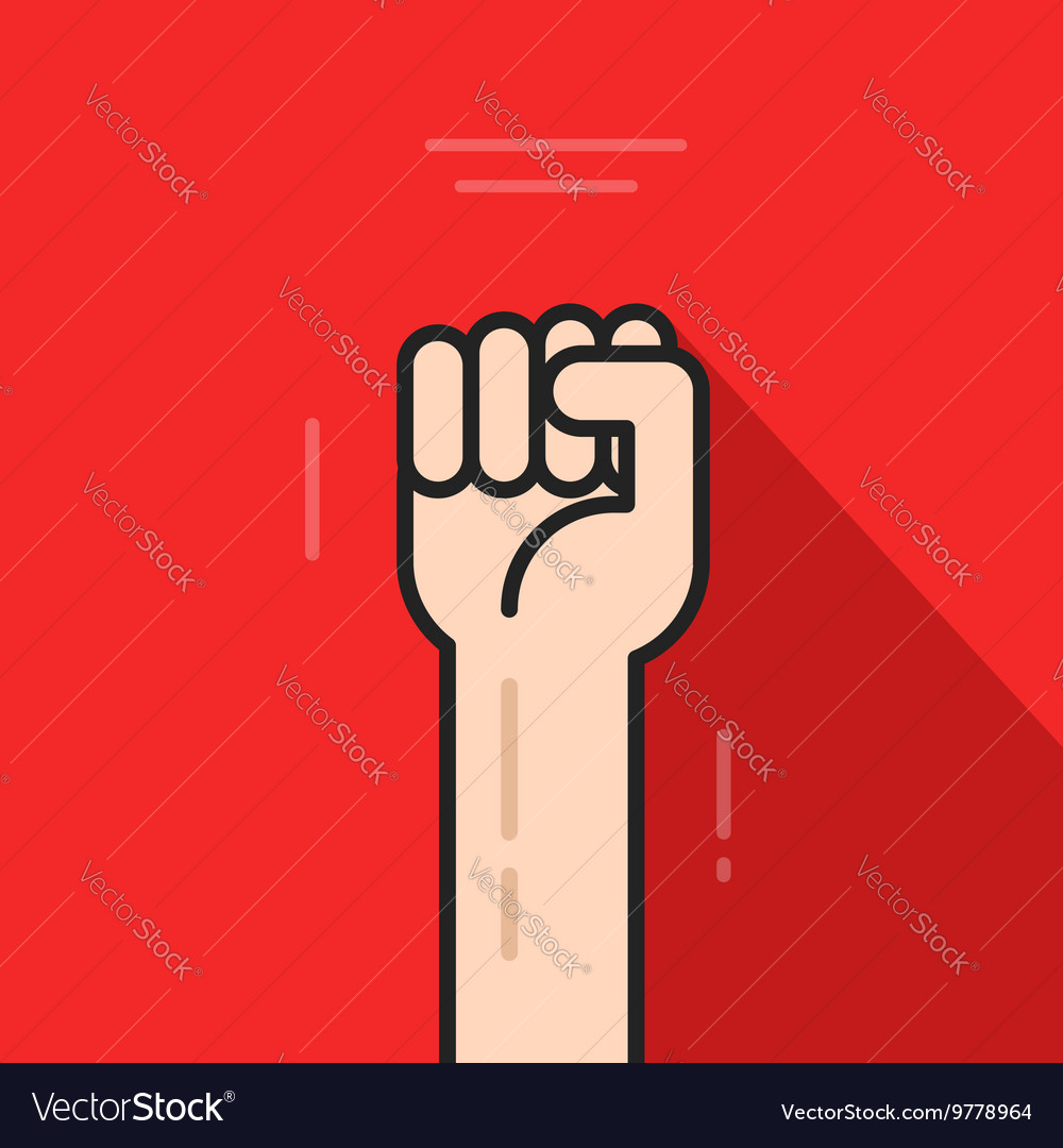 Fist hand up revolution logo idea freedom symbol vector