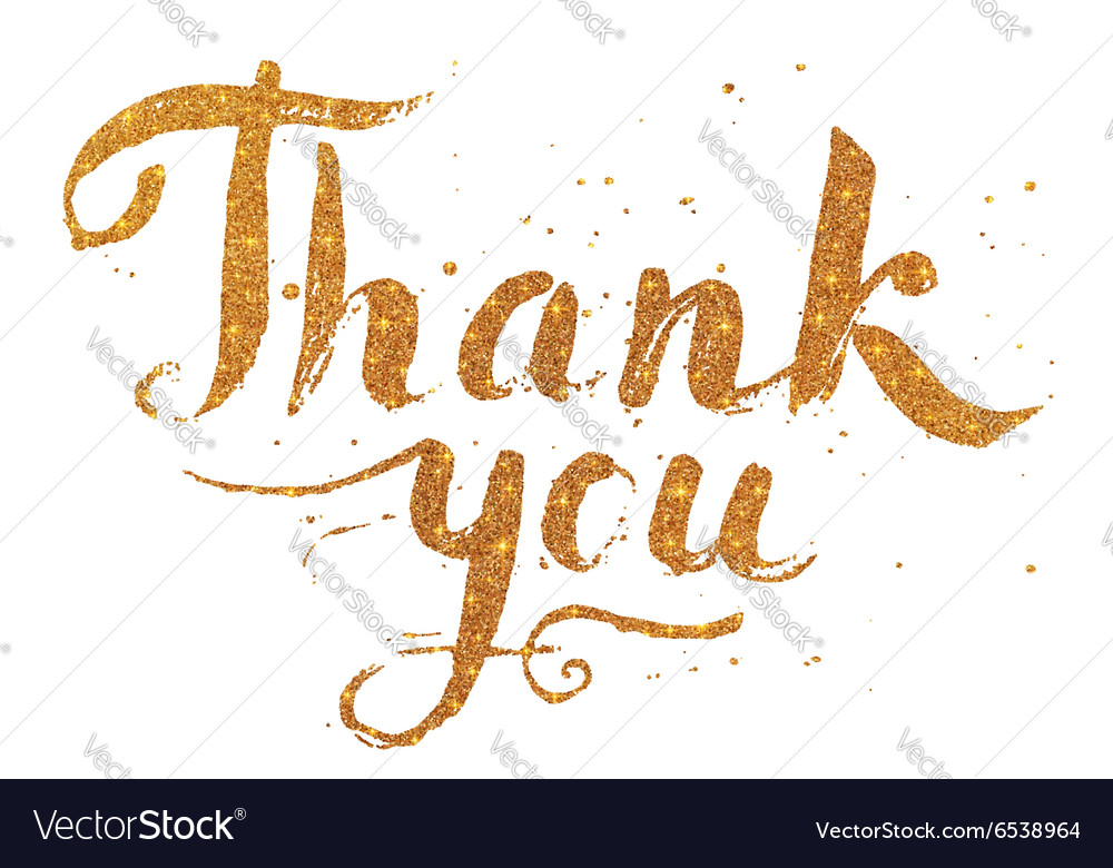 Golden glitter paint hand drawn thank you vector
