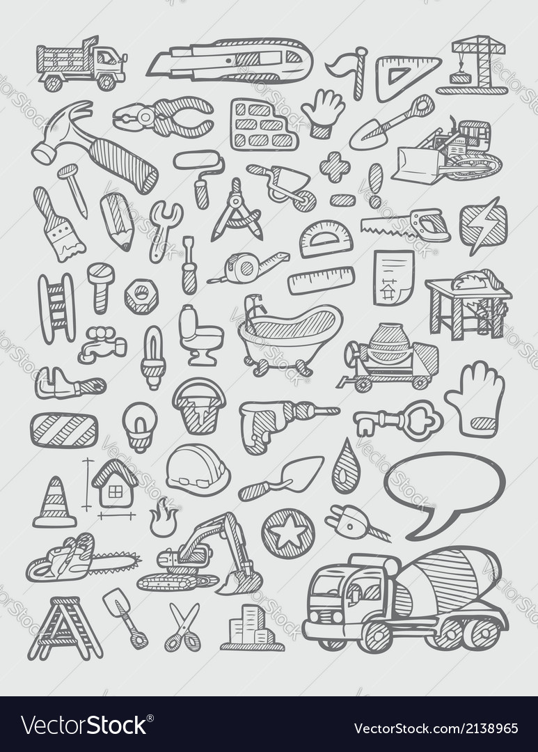 Construction icons sketch vector