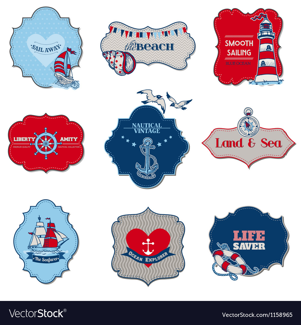 Nautical sea tag elements vector