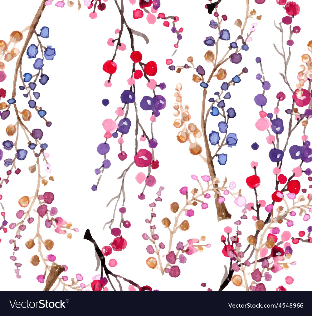 Seamless watercolor floral background vector