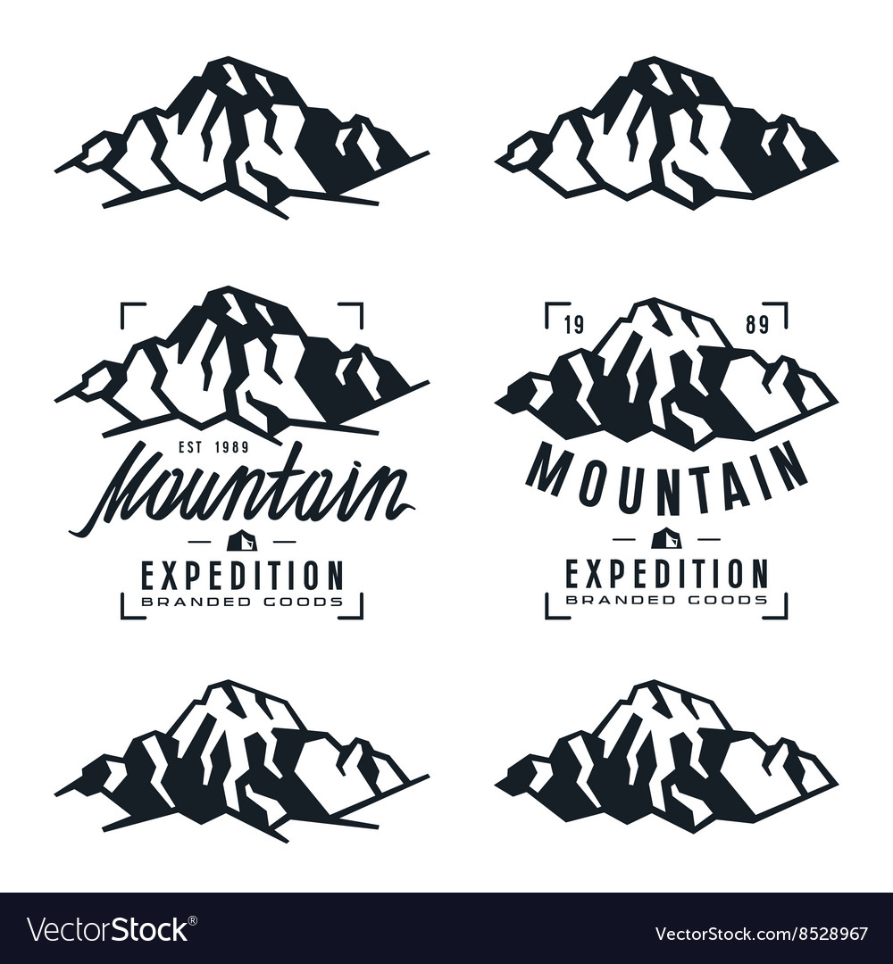 Mountain expedition badges and design elements vector