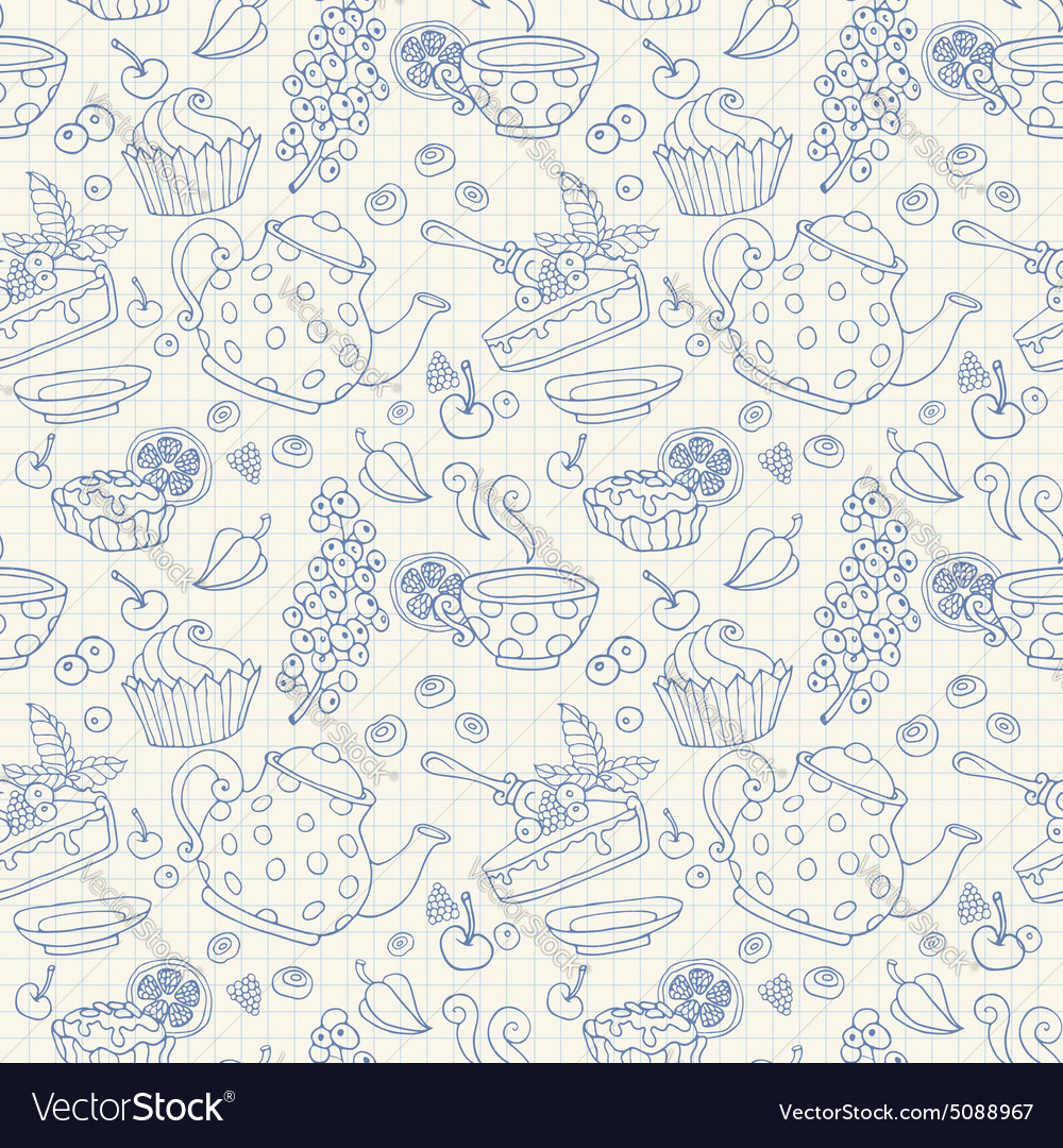 Ornament seamless pattern with tea party objects vector