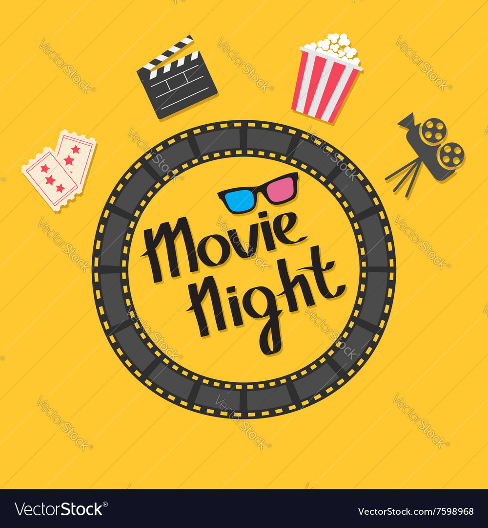 Film strip round circle frame 3d glasses popcorn vector