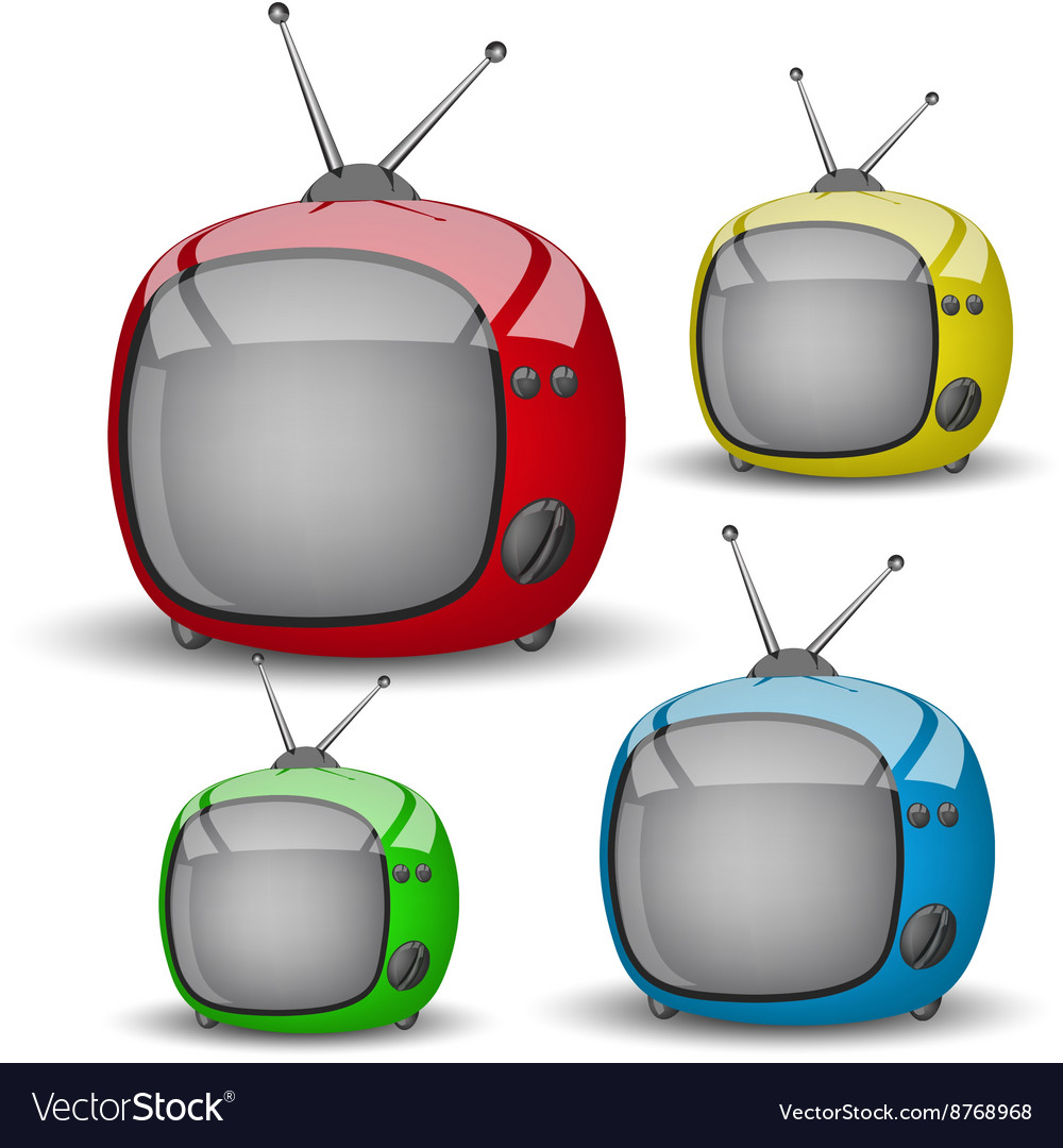 Four cute colorful tv vector