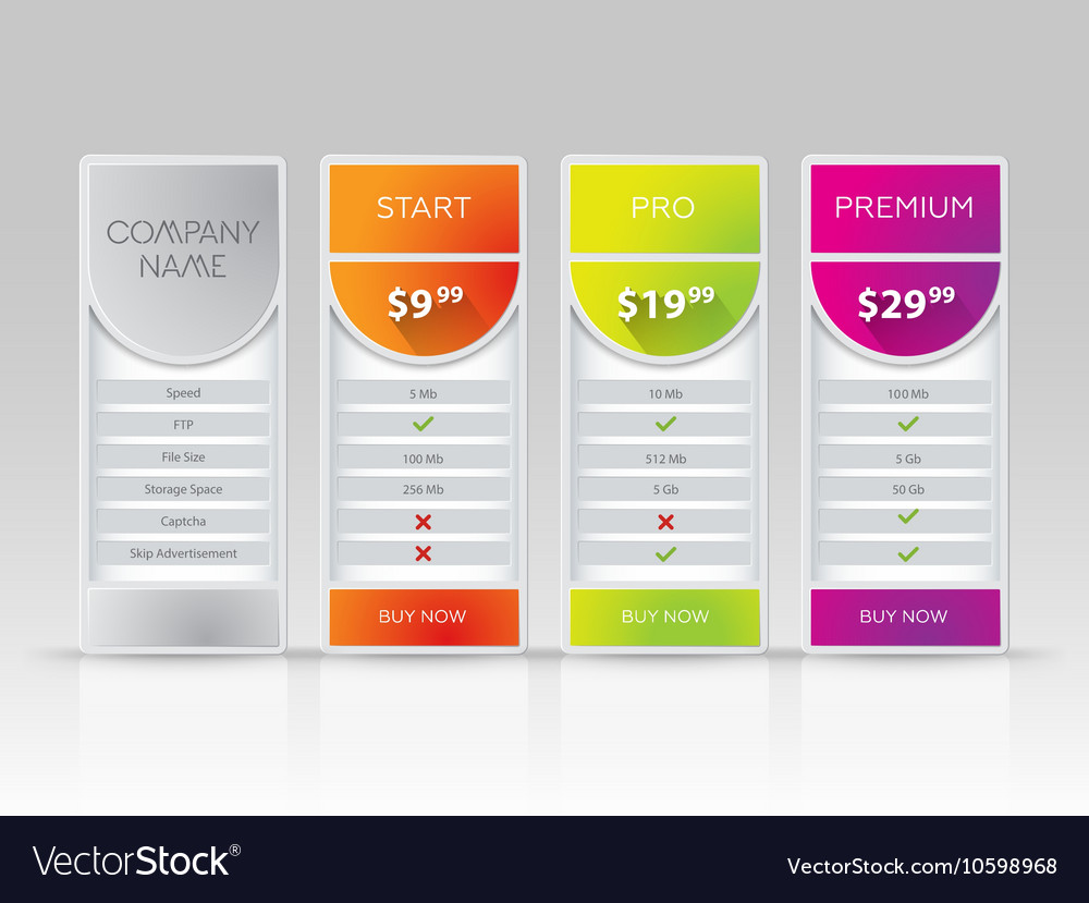 Tablet with pricing list 3 versions comparison vector