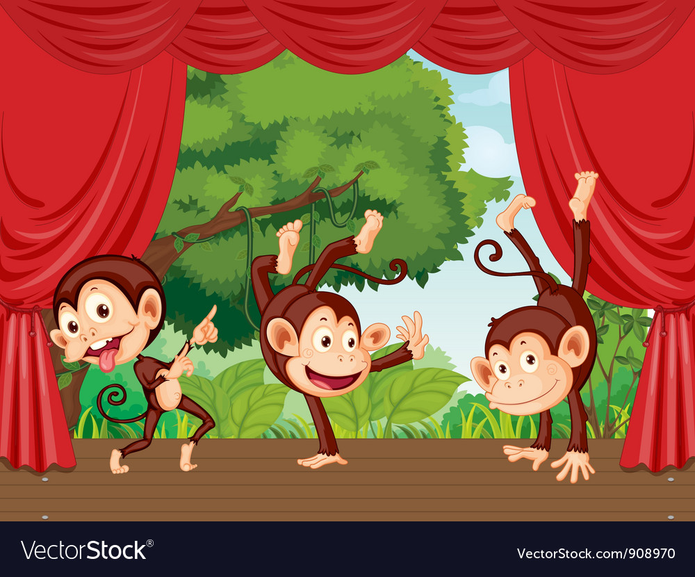 Monkeys on stage vector