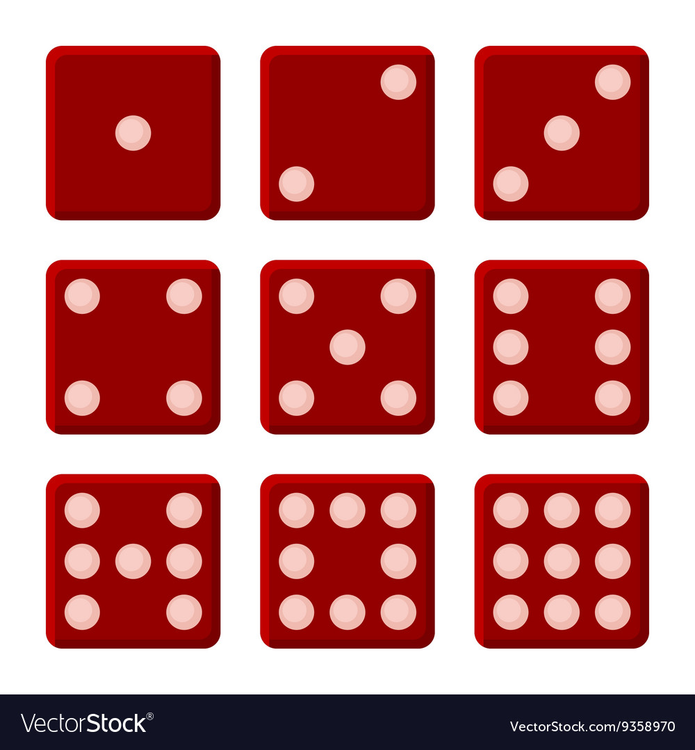 Red dice set on white background vector