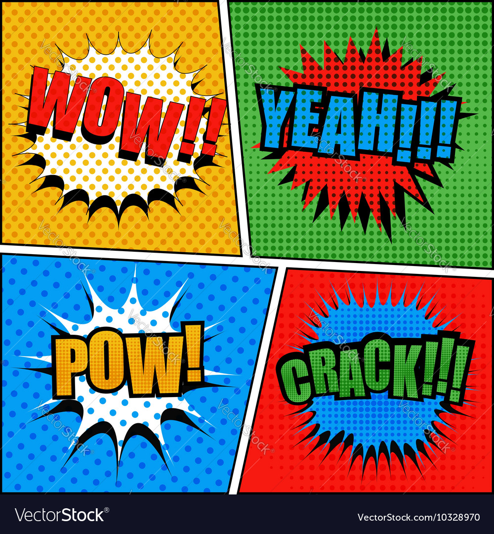 Set of comic bubbles in popart style vector