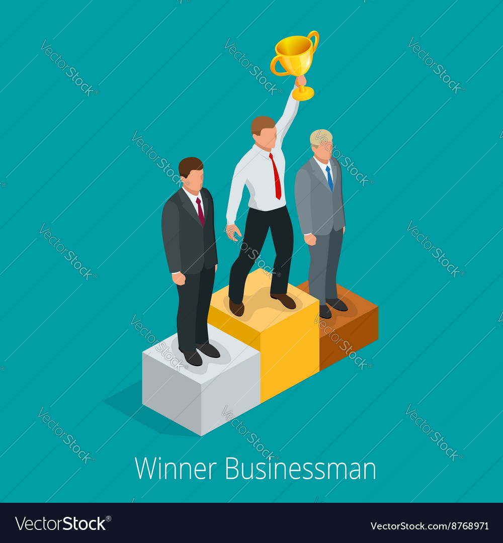 Businessman with winner cup winner concept vector
