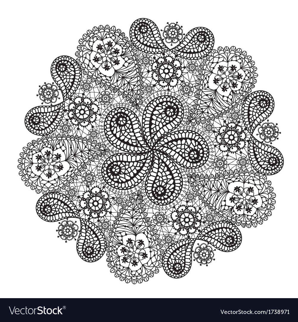 Ornamental winter handdrawn lace snowflake doodle vector