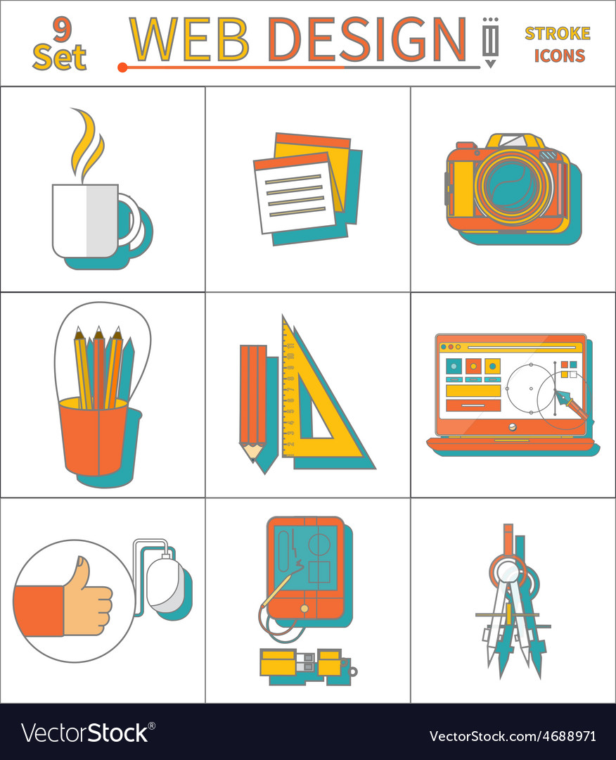 Set thin line icons of web design vector