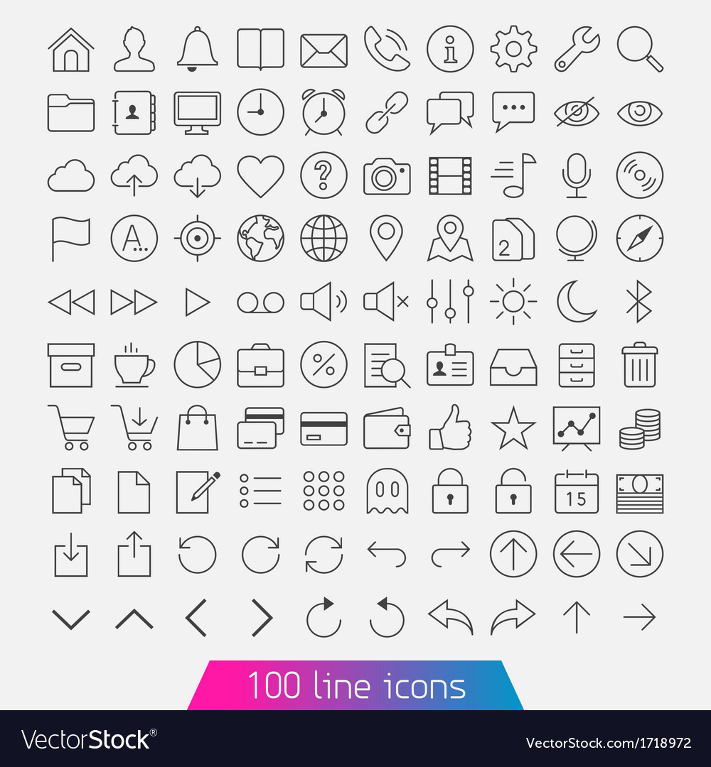 100 line icon set vector