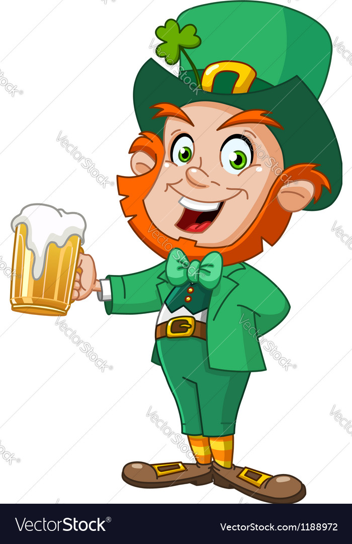 Leprechaun with beer vector