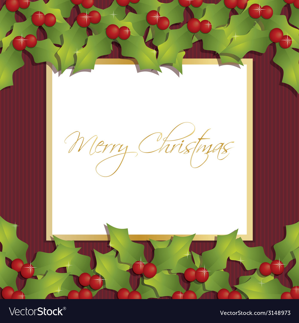 Christmas holly ornament vector
