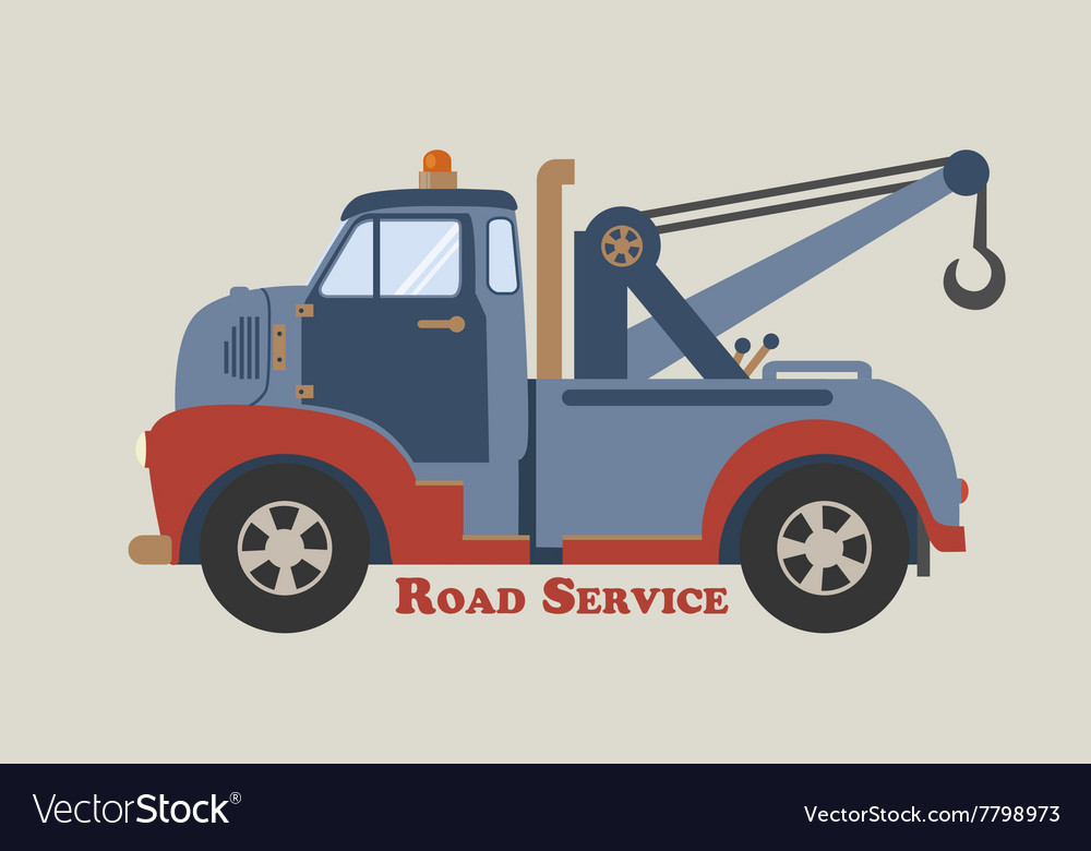 Towing truck road service vector