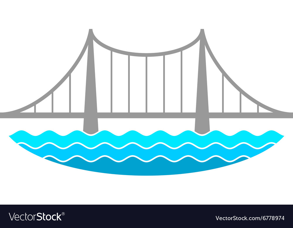 Bridge over the river logo vector