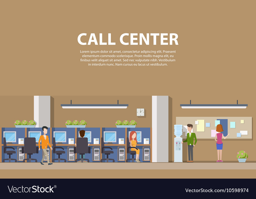 Call center interior with consultants for social vector