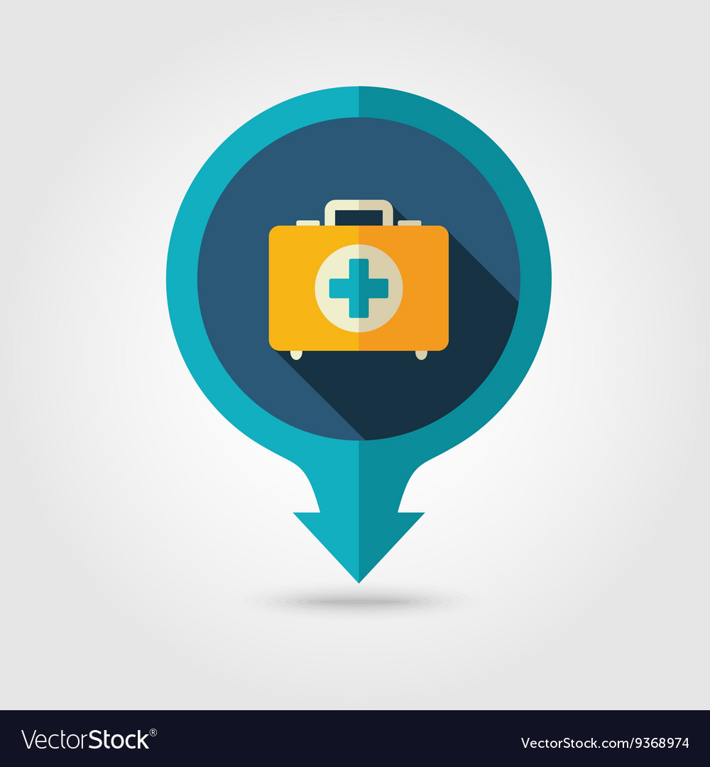 First aid pin map flat icon summer vacation vector