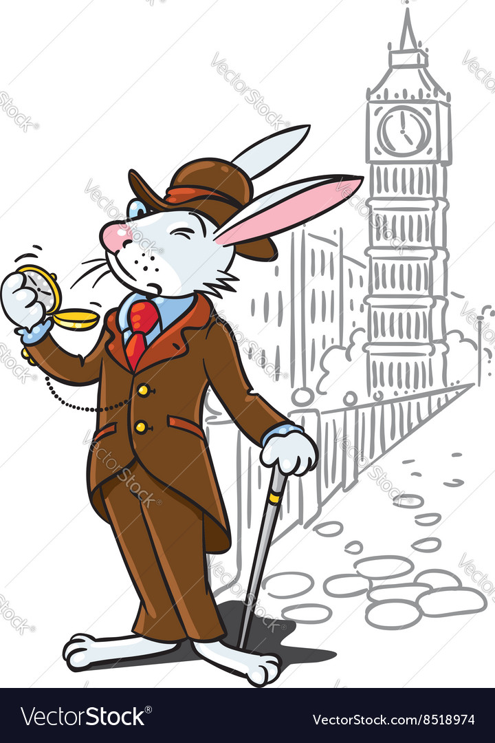Rabbit in the costume of a gentleman near big ben vector