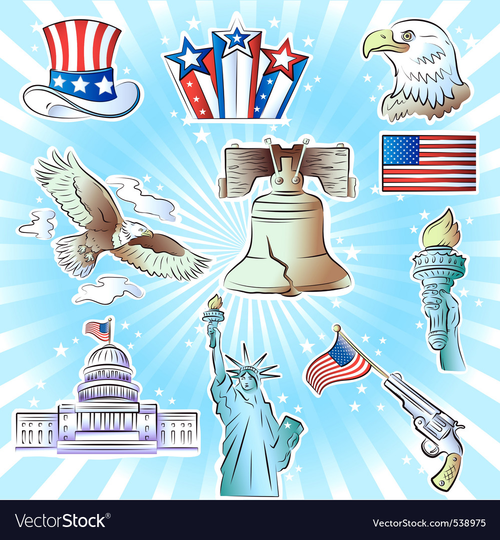 4th of july icons set vector