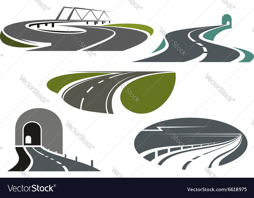 Highway roads tunnels and bridge icons vector