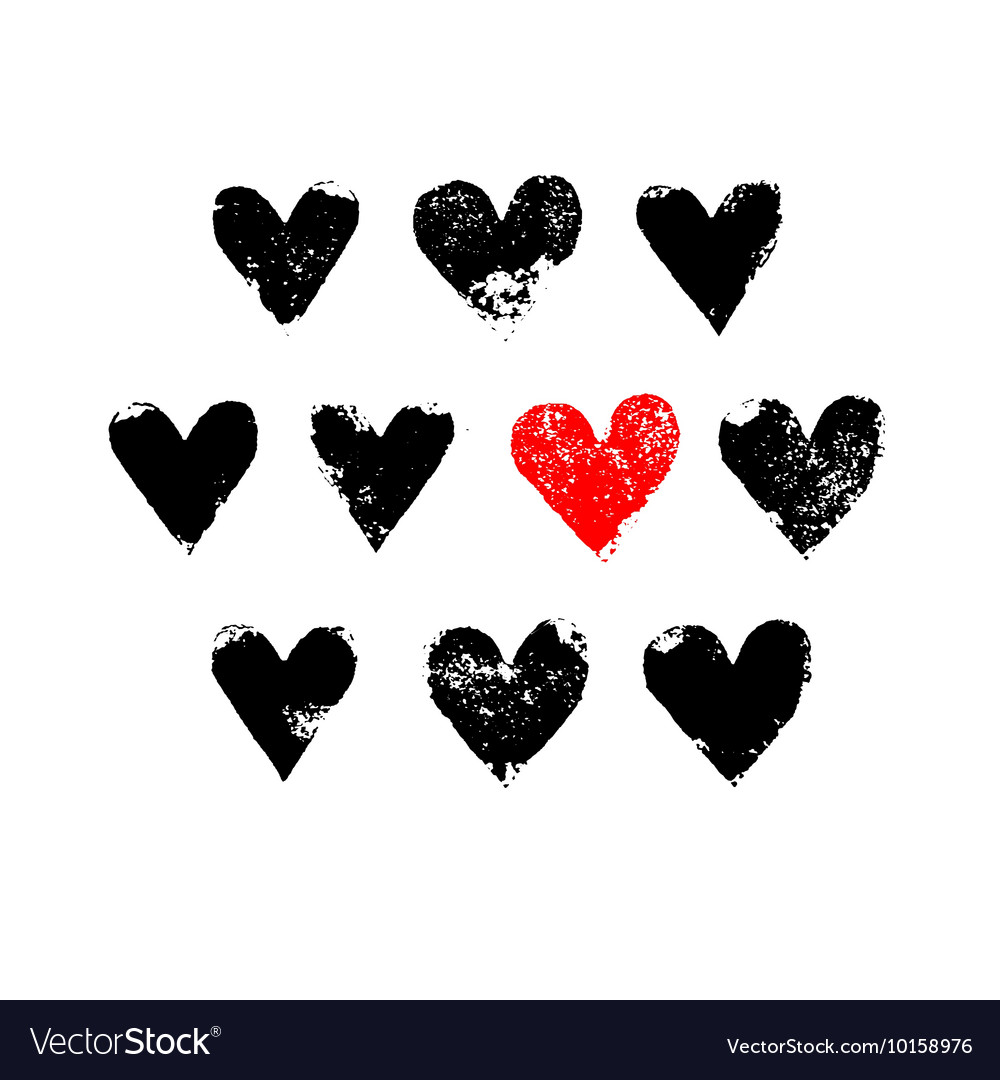 Black white and red grunge hearts print vector