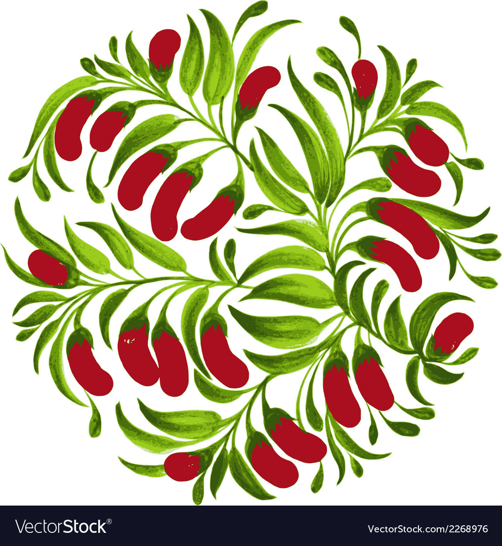 Decorative ornament red berries vector