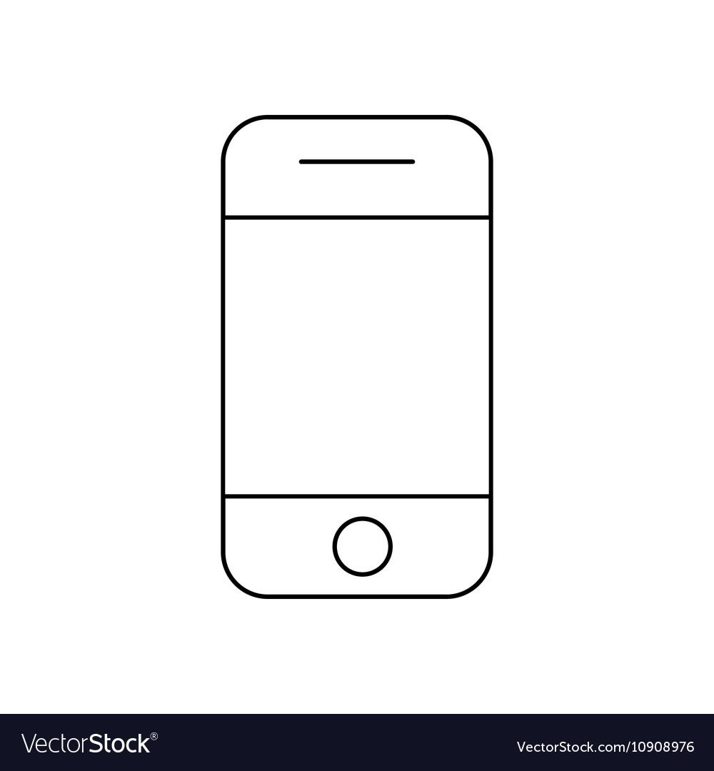 Mobile phone outline icon linear vector