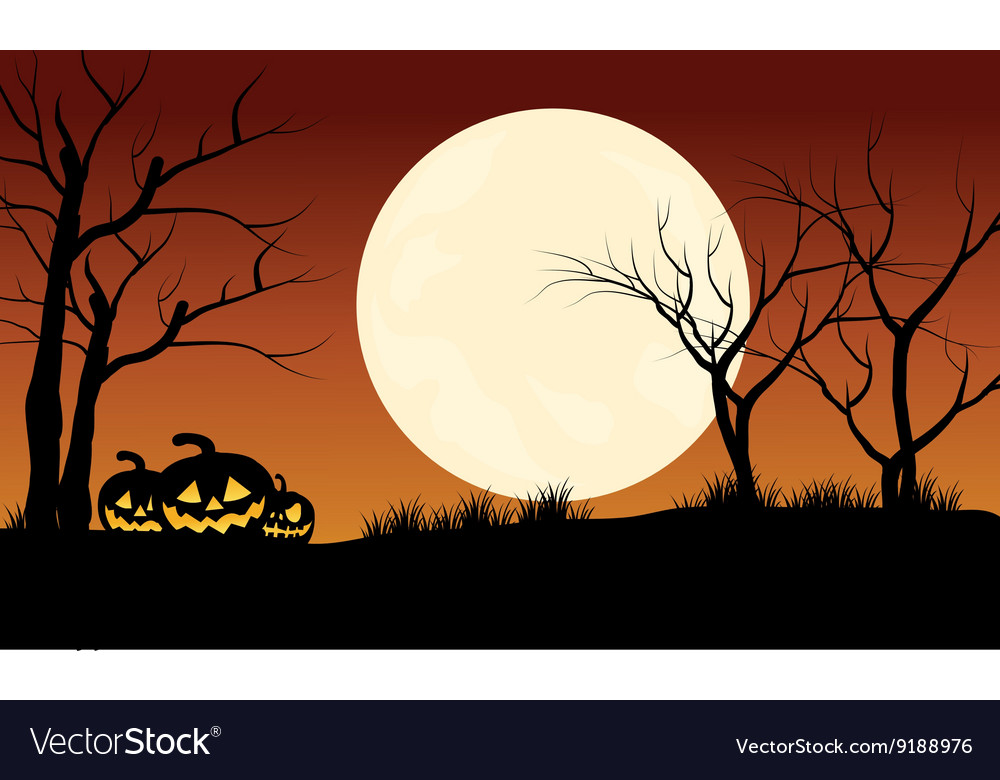 Silhouette of pumpkins halloween with full moon vector
